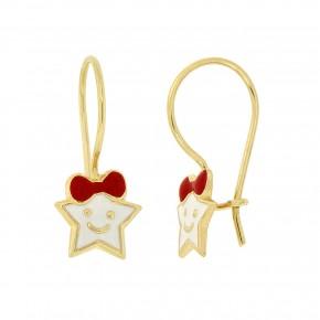 Σκουλαρίκια κρεμαστά σε αστέρι με άσπρο και κόκκινο smalto