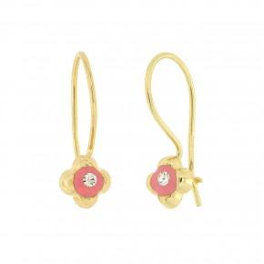 Σκουλαρίκια κρεμαστά με ροζ smalto
