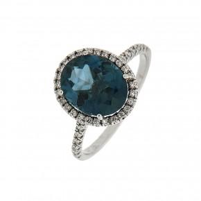 Δαχτυλίδι ροζέτα οβάλ με blue topaz και διαμάντια