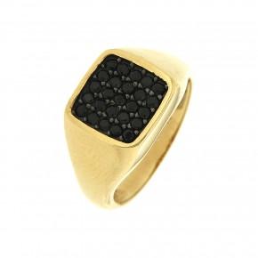 Δαχτυλίδι τετράγωνο με μαύρα zirgon
