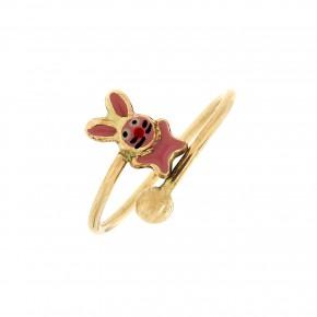 Δαχτυλίδι παιδικό χρυσό με ροζ λαγουδάκι