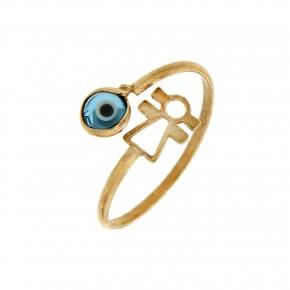 Δαχτυλίδι παιδικό χρυσό με μάτι και κοριτσάκι
